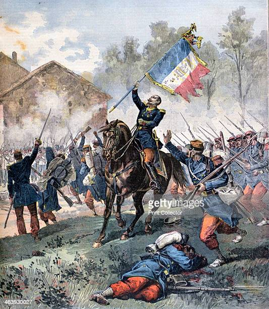Death of Colonel Malleville Battle of Solferino 24th June 1859 A print from the Le Petit Journal 27th July 1891