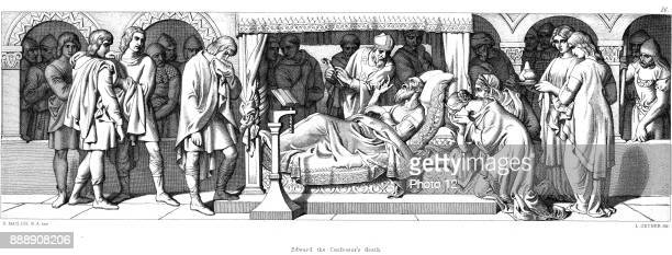 Death of Edward The Confessor AngloSaxon king of England from 1042 till Edward's death Illustration by Daniel Maclise for 'The Story of The Norman...