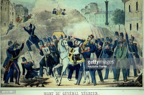 Death of General Negrier during the Days of June at the Bastille square on June 25 1848 in Paris France
