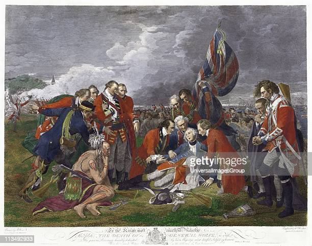 Death of General Wolfe' after painting by Benjamin West James Wolfe British Army commander mortally wounded at victory over French at Battle of...