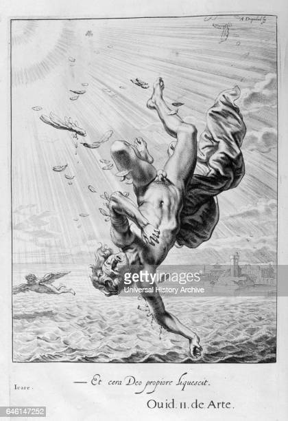 Death of Icarus Engraving from 'Tableaux du temple des muses' by Michel de Marolles known as the abbe de Marolles a French churchman and translator...