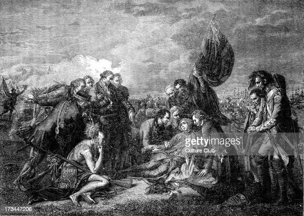 Death of Major General James Wolfe after the painting by Benjamin West British Army officer known for role in the taking of Quebec Canada from the...