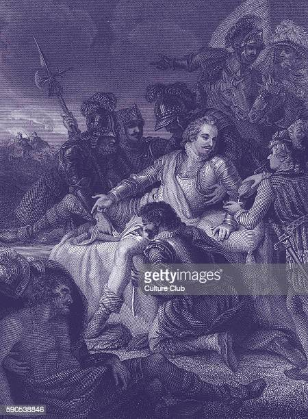 Death of Sir Philip Sidney Fatally wounded by a musket shot at the Battle of Zutphen in the Netherlands Sidney later died of gangrene PS English poet...