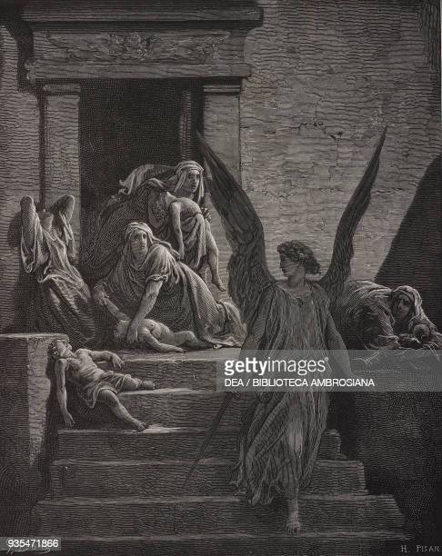 Death of the firstborn of Egypt engraving by Gustave Dore from The Holy Scriptures containing the Old and New Testaments Translated from The Latin...