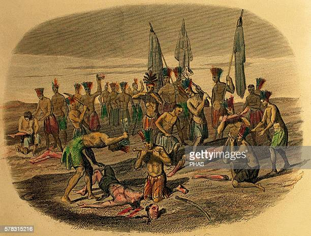Death of the Franciscan missionaries dismembered and devoured by Caribbean Indians to whom they had attempted to evangelise in 1516 Engraving 1850...