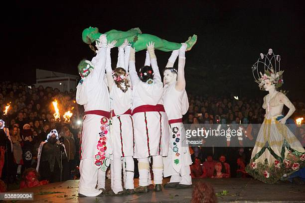 death of the green man at beltane fire festival, edinburgh - theasis stock pictures, royalty-free photos & images