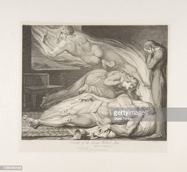 Death of the Strong Wicked Man, from The Grave, a Poem by Robert Blair, March 1 Engraving, plate: 8 3/16 x 10 3/16 in. , Prints, Luigi Schiavonetti ,...