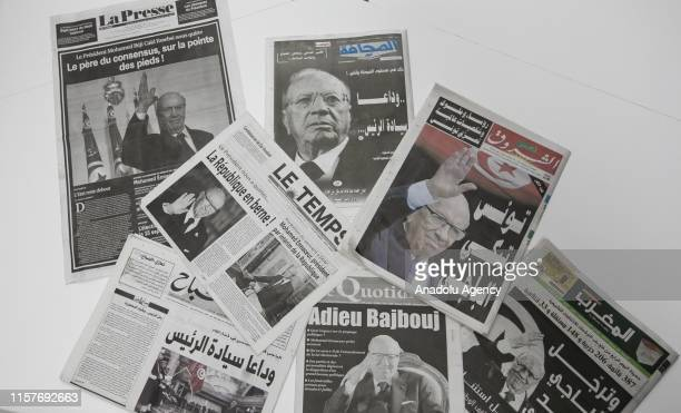 Death of Tunisian President Beji Caid Essebsi makes the headlines in the country in Tunis, Tunisia on July 26, 2019.