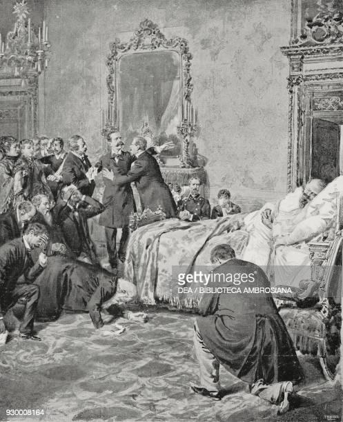 Death of Vittorio Emanuele II drawing by Edoardo Matania from The Life and Kingdom of Vittorio Emanuele II by G Massari from L'Illustrazione Italiana...