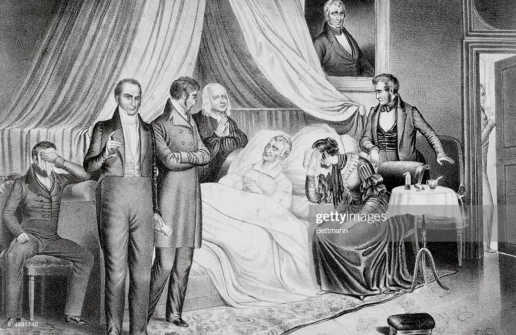 William H. Harrison on His Death Bed with Visitors : News Photo