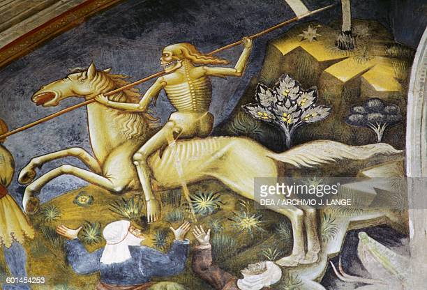 Death on horseback detail from the Apocalypse scenes fresco cycle in the Basilica of St Catherine of Alexandria before its restoration Galatina...