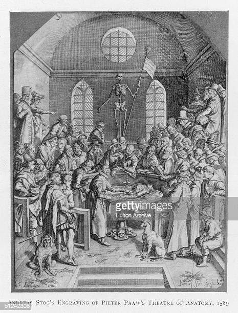 1589 Death presides over Pieter Paaw's Theatre of Anatomy in Leiden Original Artwork Engraving by Andreas Stog