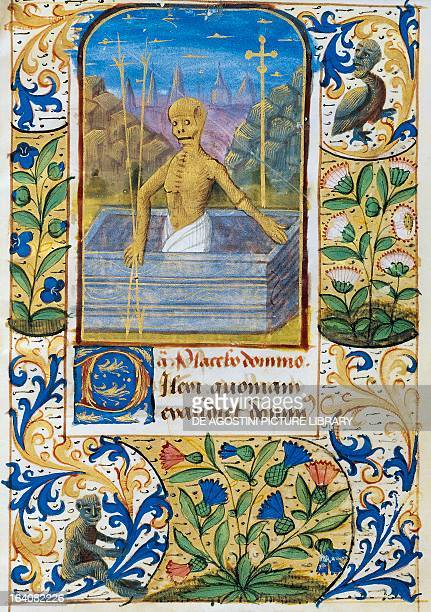 Death rising from a tomb miniature on vellum from a book of hours Latin manuscript from Lisieux 15th century