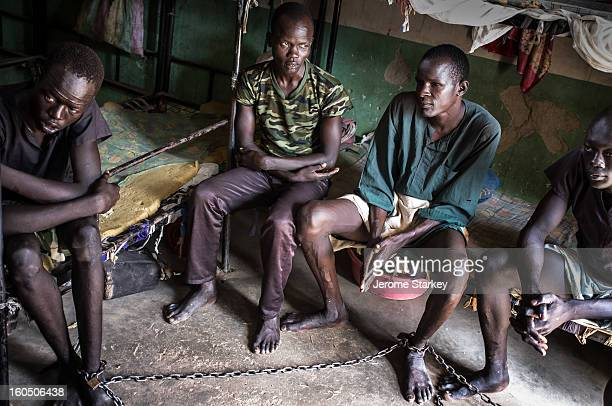 Death rown prisoners in Rumbek Central Prison, in South Sudan, shackled together in a dormitory, Oct 24, 2012. Around 300 inmates are housed in a...