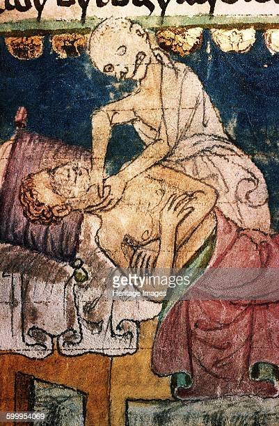 Death Strangling a Victim of the Plague. From the Stiny Codex, 14th century. Found in the collection of University Library, Prague. Artist :...