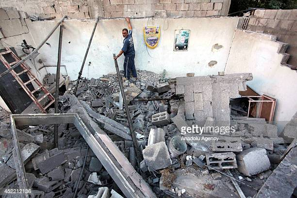 Death toll rises to 202 as a result of the Israeli airstrikes at Gaza, July 16, 2014. The house of Alajarma family is also destroyed following the...