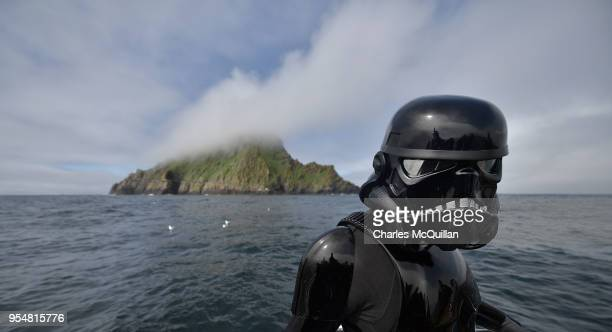Death Trooper from the 501st Ireland Legion on board the 'Lady Clare' overlooks the Skelligs on May 4 2018 in Portmagee Ireland The first ever Star...