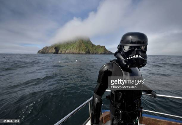 Death Trooper from the 501st Ireland Legion surveys the Skelligs on May 4 2018 in Portmagee Ireland The first ever Star Wars festival is taking place...