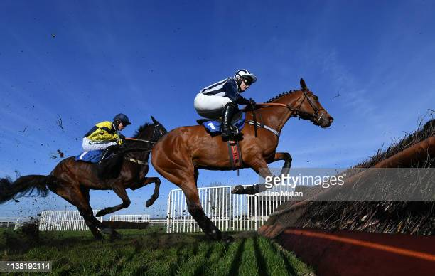 Deauville Dancer ridden by Jonjo O'Neill Jr clear a fence on route to winning the South West Racing Club Handicap Steeple Chase at Wincanton...