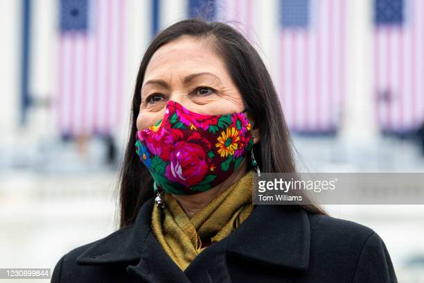 Deb Haaland, nominee to be Interior secretary, attends the inauguration before Joe Biden was sworn in as the 46th President of the United States on...