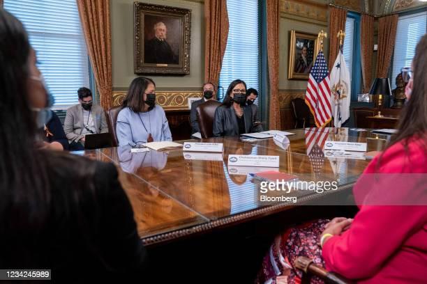 Deb Haaland, U.S. Secretary of the interior center, speaks during a Native American voting rights conversation with U.S. Vice President Kamala Harris...