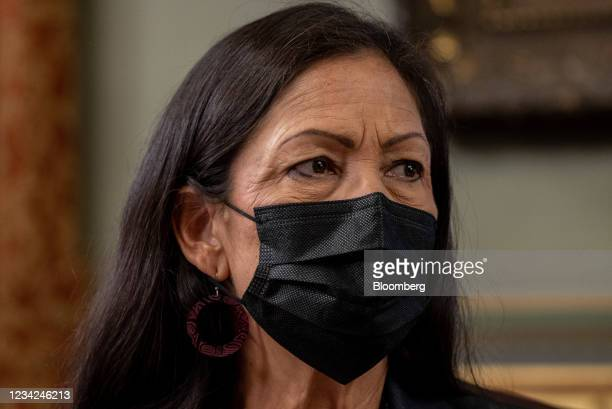 Deb Haaland, U.S. Secretary of the interior, during a Native American voting rights conversation with U.S. Vice President Kamala Harris in the Vice...