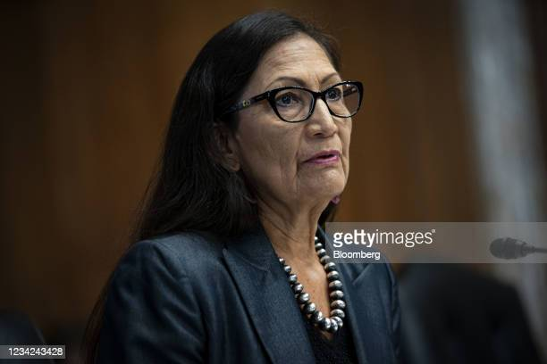 Deb Haaland, U.S. Secretary of the interior, during a Senate Energy and Natural Resources Committee hearing on Capitol Hill in Washington, D.C.,...