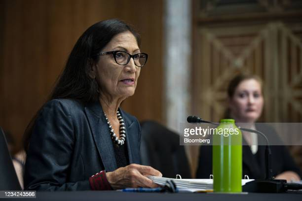 Deb Haaland, U.S. Secretary of the interior, speaks during a Senate Energy and Natural Resources Committee hearing on Capitol Hill in Washington,...
