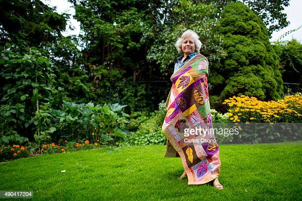 TORONTO ON AUGUST 24 Deb Kopeschny posing with a Zentangle inspired quilt titled 'Swirling Leaves' at her home in Scarborough on August 24 2015...