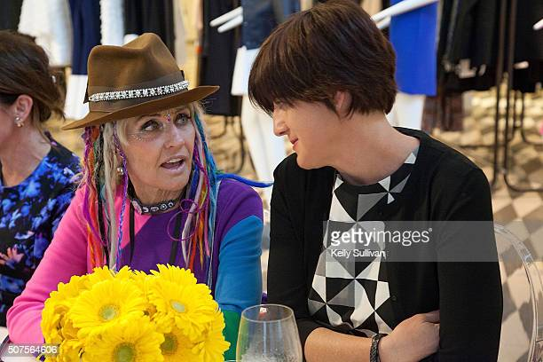 Deb Windham and Katie Geminder socialize at Barneys New York on January 29 2016 in San Francisco California
