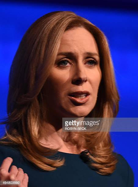 Debate moderator Becky Quick takes the stage at the third Republican Presidential Debate hosted by CNBC October 28 2015 at the Coors Event Center at...