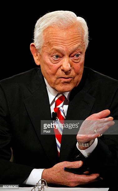 Debate moderator Bob Schieffer speaks during the third presidential debate in the David S Mack Sports and Exhibition Complex at Hofstra University...