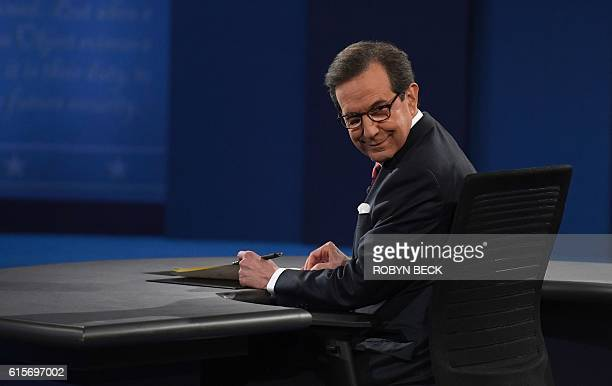 Debate moderator Chris Wallace looks on prior to the third and final US presidential debate between Democratic nominee Hillary Clinton and Republican...