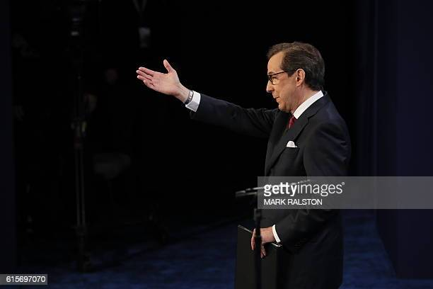 Debate moderator Chris Wallace speaks prior to the third and final US presidential debate between Democratic nominee Hillary Clinton and Republican...