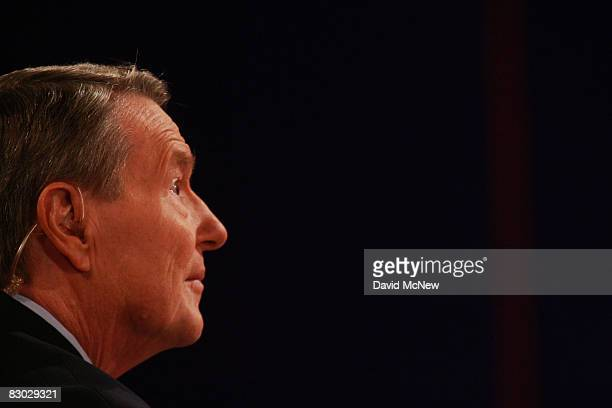 Debate moderator Jim Lehrer looks on during the first of three presidential debates before the 2008 election September 26 2008 in the Gertrude...