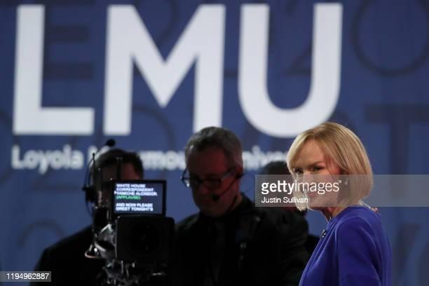 Debate moderator Judy Woodruff awaits the start of the Democratic presidential primary debate at Loyola Marymount University on December 19 2019 in...