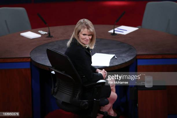 Debate moderator Martha Raddatz arrives prior to the vice presidential debate at Centre College October 11 2012 in Danville Kentucky This is the...