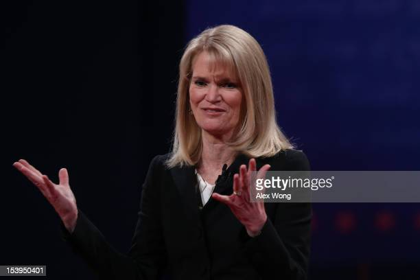 Debate moderator Martha Raddatz speaks on stage prior to the vice presidential debate at Centre College October 11 2012 in Danville Kentucky This is...