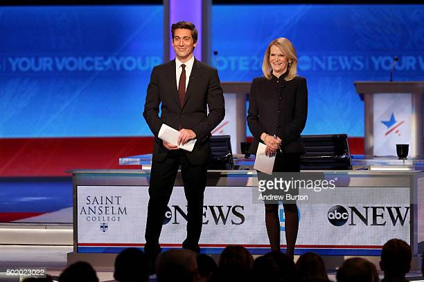 Debate moderators David Muir stand on stage at the debate at Saint Anselm College December 19 2015 in Manchester New Hampshire This is the third...