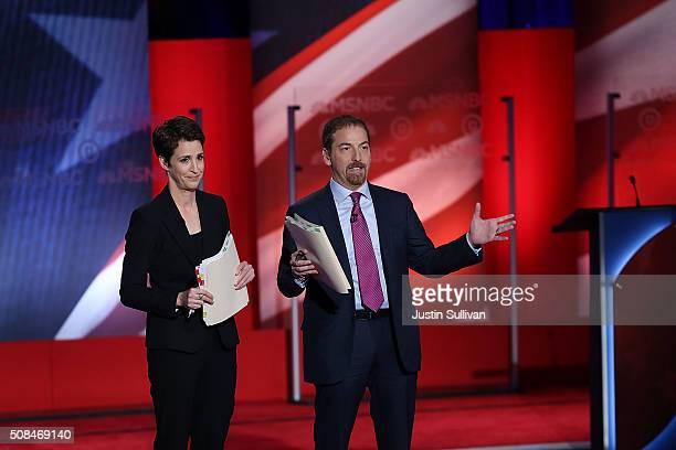 Debate moderators Rachel Maddow and Chuck Todd prepare for the start of the MSNBC Democratic Candidates Debate between Democratic presidential...