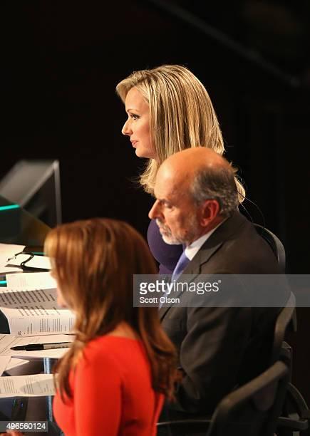 Debate moderators Sandra Smith Gerald Sieb and Trish Regan during the undercard portion of the Republican Presidential Debate sponsored by Fox...