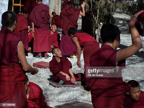 Debate of the monks , Sera Monastery near Lhasa. The monks gather to discuss philosophical questions. Usually a younger monk will ask a question to...