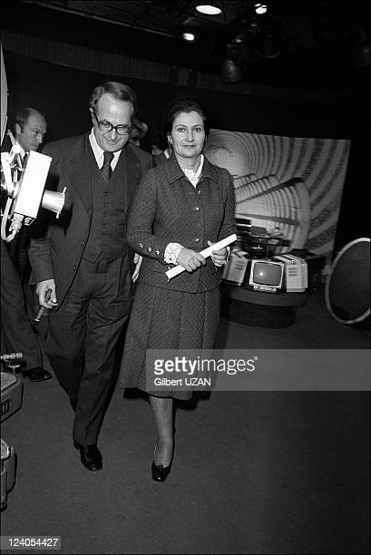 TV debate on contraception with Veil and Neuwirth in Paris France on November 18 1974 Antoine and Simone Veil