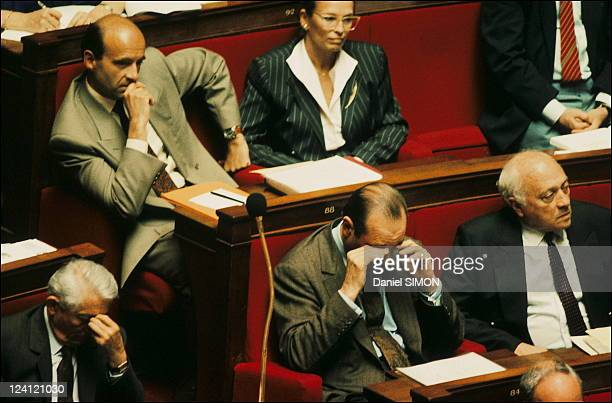 Debate on immigration at the National Assembly in Paris France on May 22 1990 Bernard Pons Alain Juppe Jacques Chirac