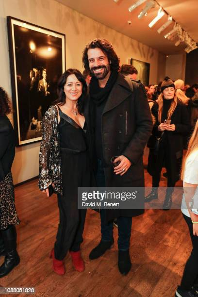Debbi Clark and Christian Vit attend a private view of the Sir Hubert Von Herkomer Arts Foundation exhibition Next Generation at Alon Zakaim Fine Art...