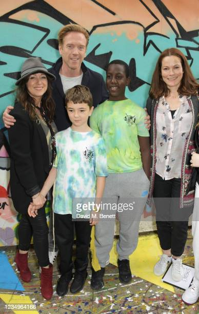 Debbi Clark and Damian Lewis pose with cast members Riley De-Gragg, Joshua Bamgbose and director Selina Giles at a performance of the Sir Hubert Von...