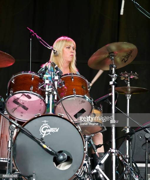 Debbi Peterson of The Bangles performing live at the Cornbury Music Festival Oxfordshire UK on July 05 2008