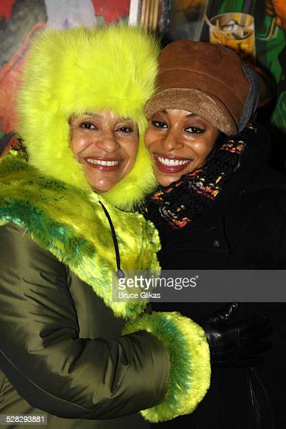 Debbie Allen and daughter Vivian Nixon pose backstage at the hit musical Memphis on Broadway at The Shubert Theater on January 2 2010 in New York City