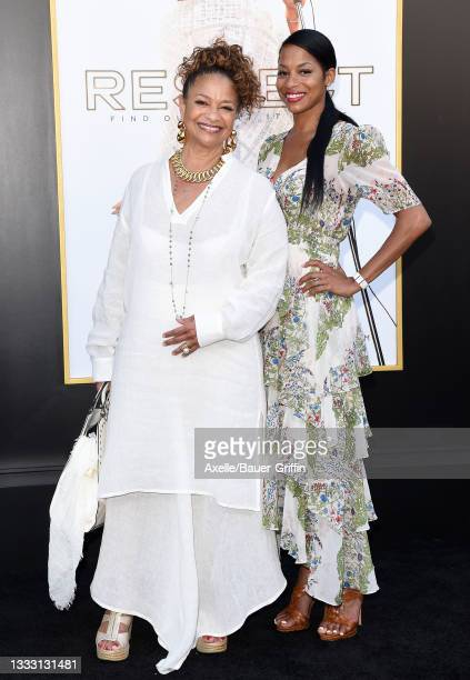 """Debbie Allen and Vivian Nixon attend the Los Angeles Premiere of MGM's """"Respect"""" at Regency Village Theatre on August 08, 2021 in Los Angeles,..."""
