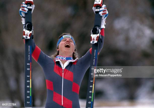 Debbie Armstrong of the USA celebrates her victory in the women's giant slalom during the Winter Olympic Games in Calgary Canada circa February 1988